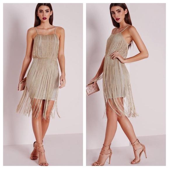Gold Fringe Strapless Dress